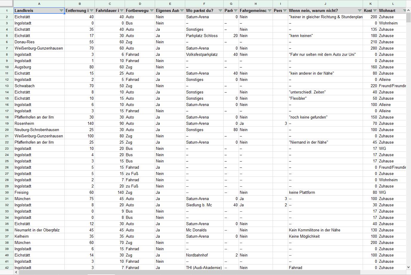 Die erhobenen Daten, in einer Tabelle eingetragen.