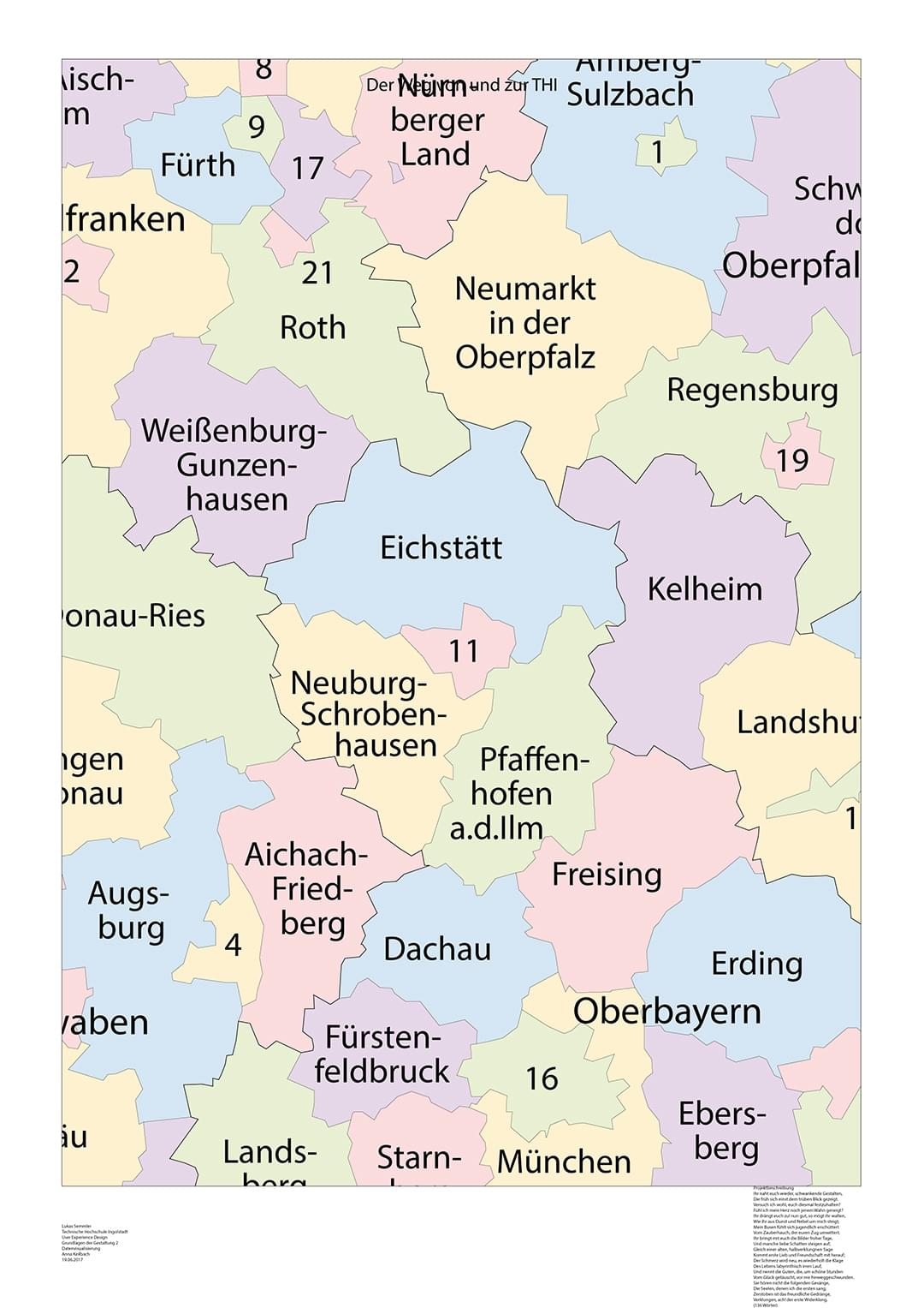 Step 1: The page format of DIN A1 has been chosen. Also a map of the Bavarian counties is included as starting point.