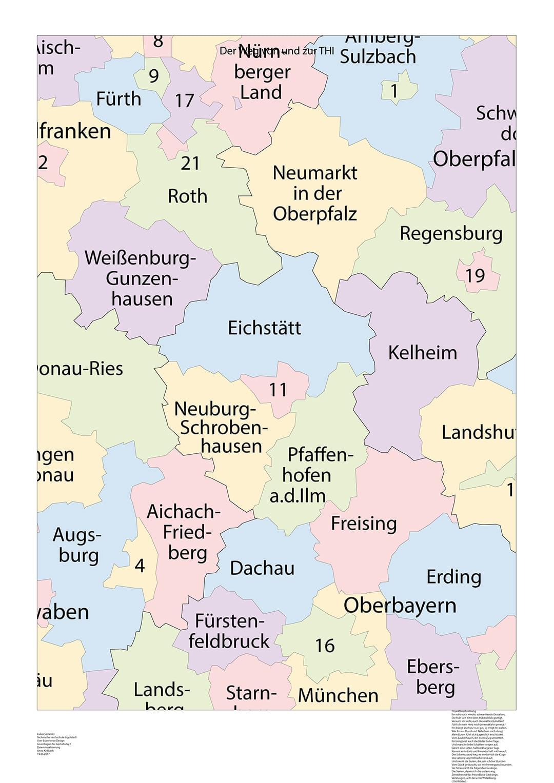 1. Schritt: Das Format wird auf DIN A1 festgelegt und eine Kartenvorlage der bayrischen Landkreise eingebunden.