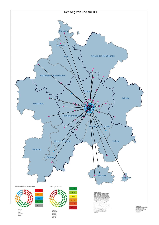 2. Schritt: Die Positionen werden mit dem THI-Logo verbunden. Unten links ist die Verteilung der Verkehrsmittel. Jeder Punkt ist eine Dateneinheit.