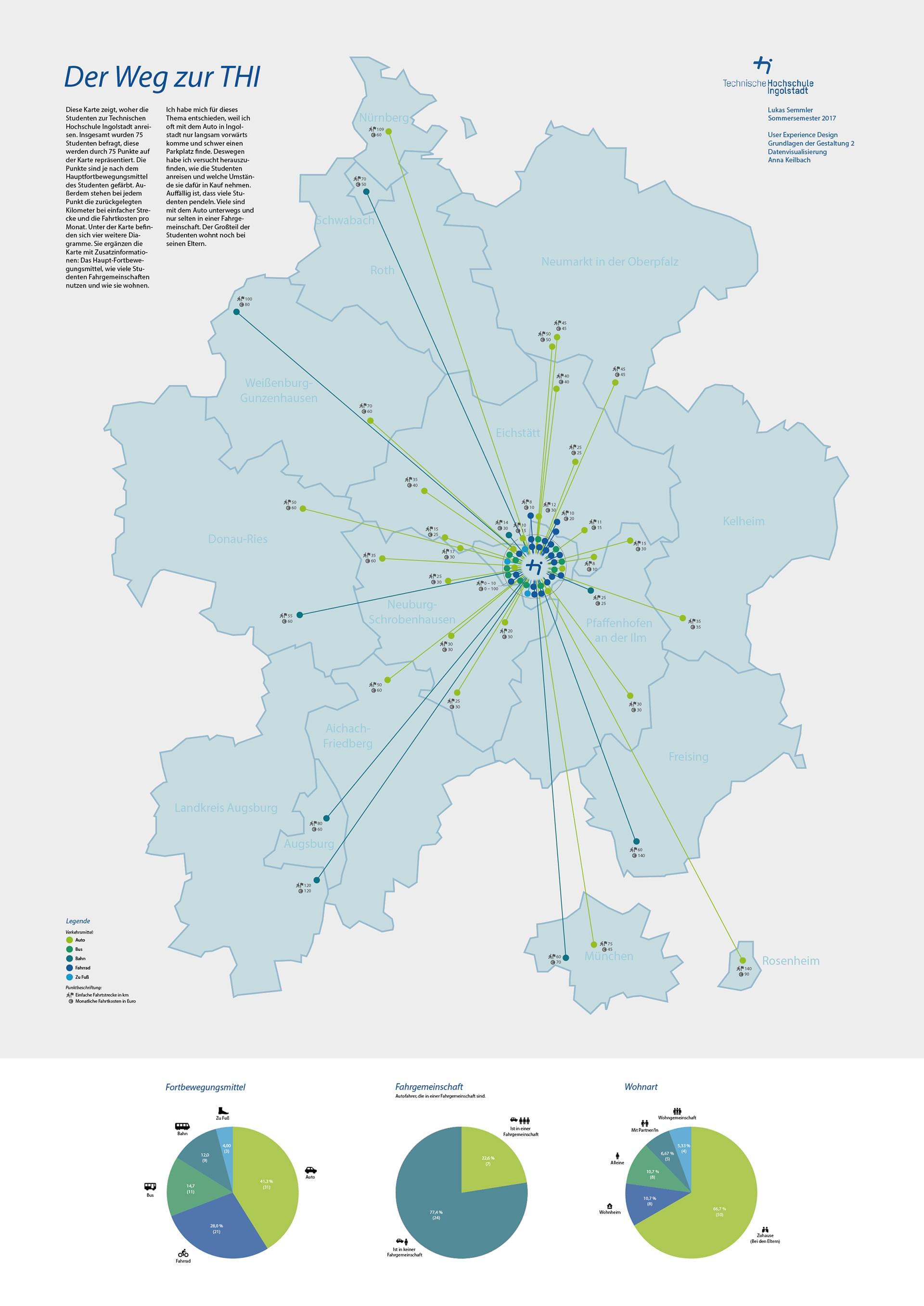 Das Plakat der Datenvisualisierung. Auf einer Karte sind die Herkunftsorte der Studenten eingetragen.