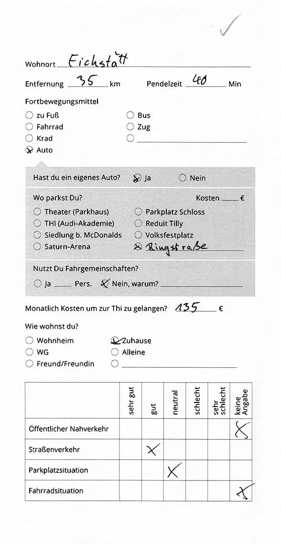 A filled out questionnaire.