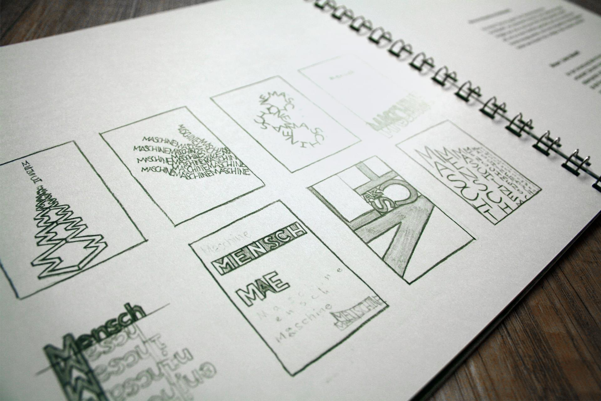 A page in the booklet that shows sketches for the Mensch-Maschine project.