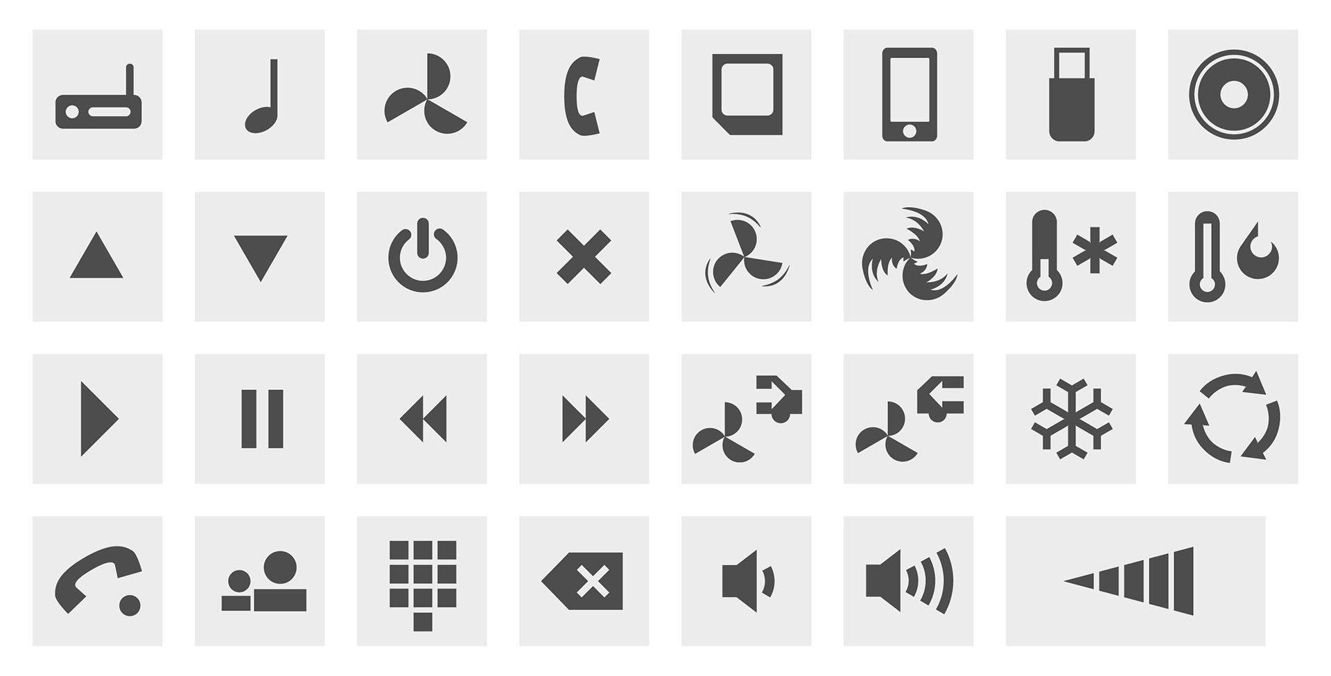The finished icons, which were used for the Google screen design.
