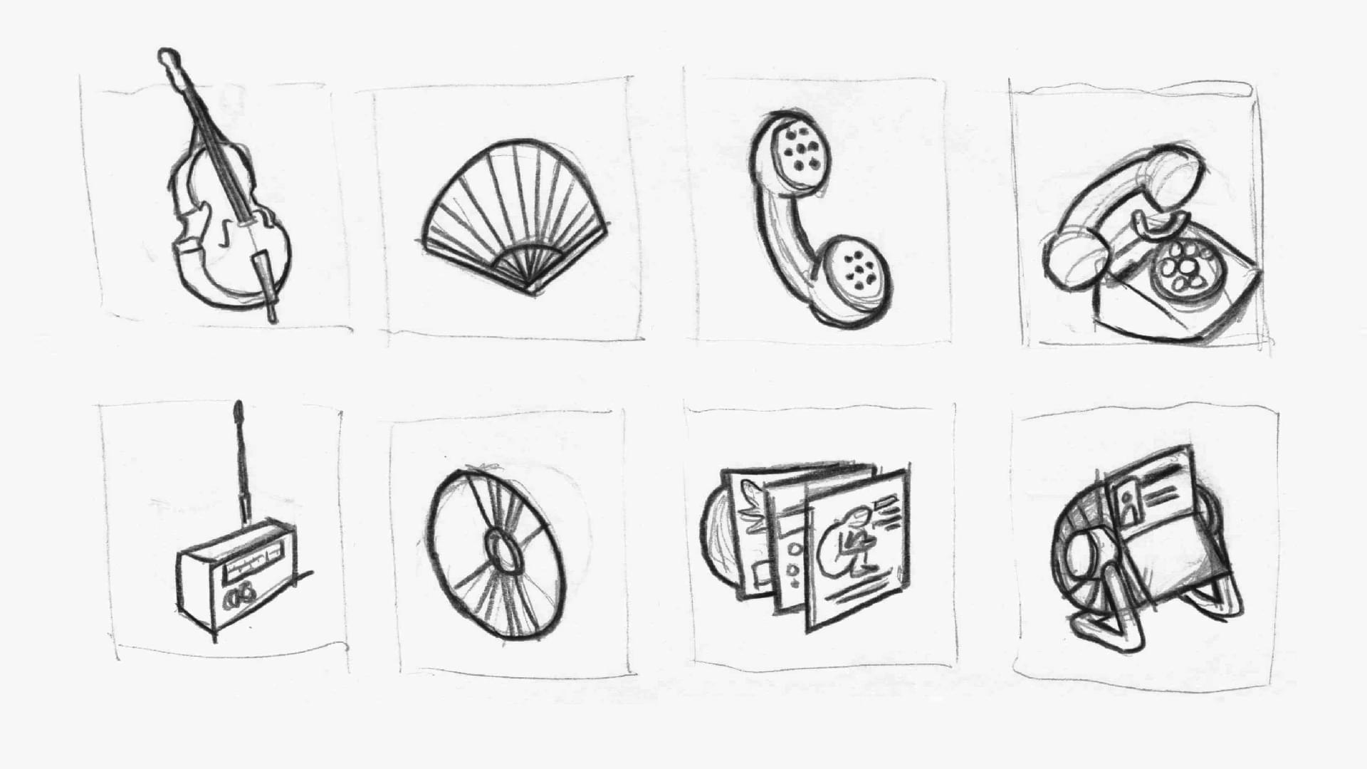 Sketches of the icons as base for the Mercedes screen design.
