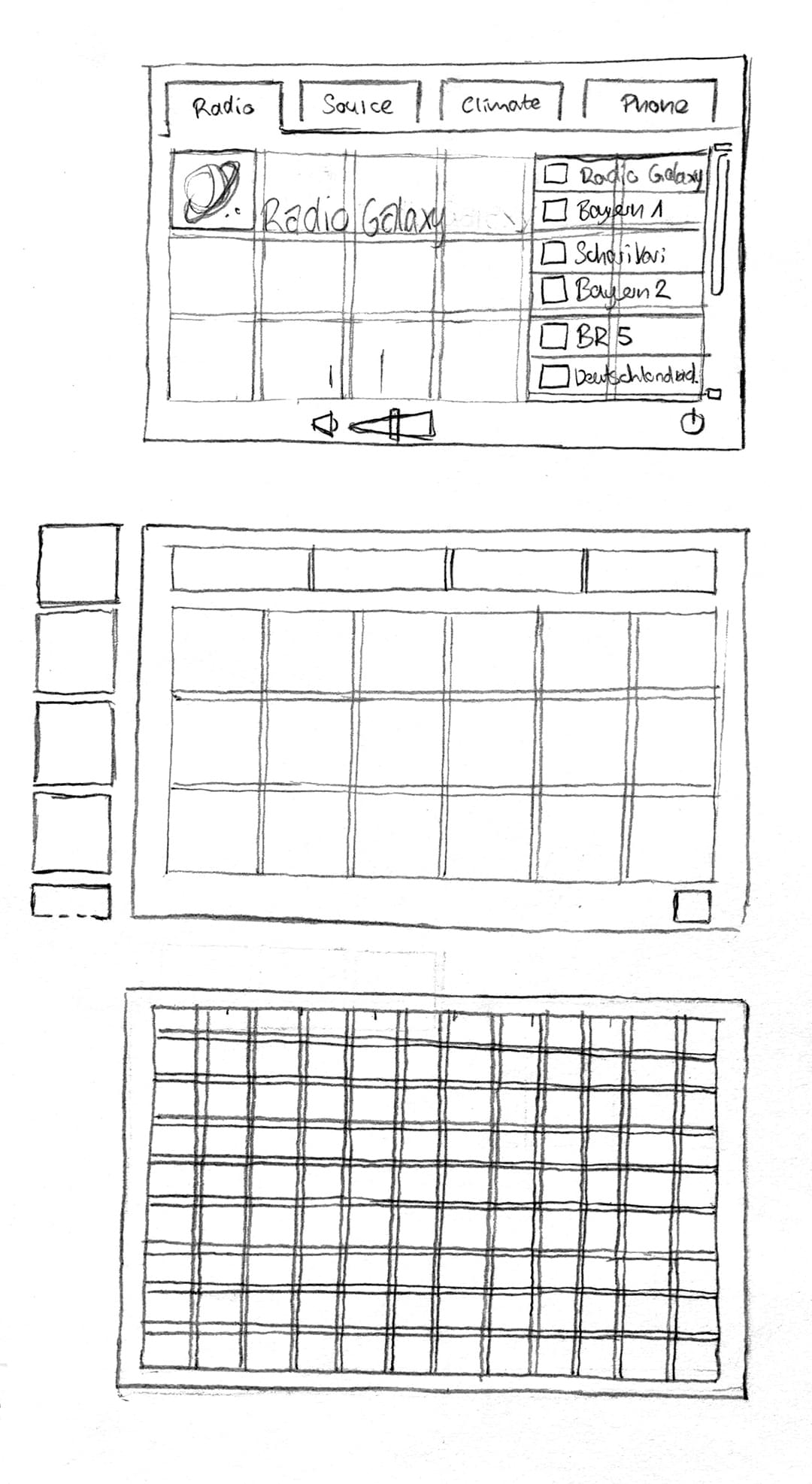 Construction of the grid with sketches.