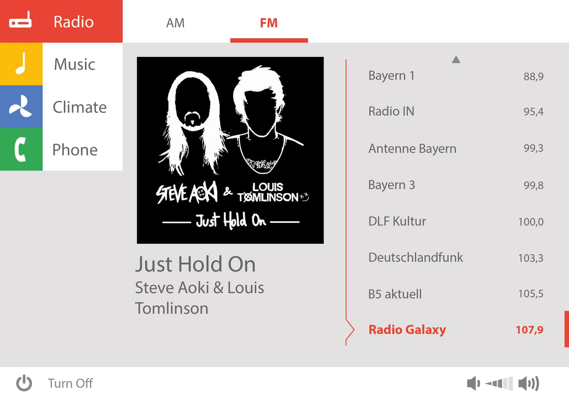 Screen Google – A radio channel is listened to.