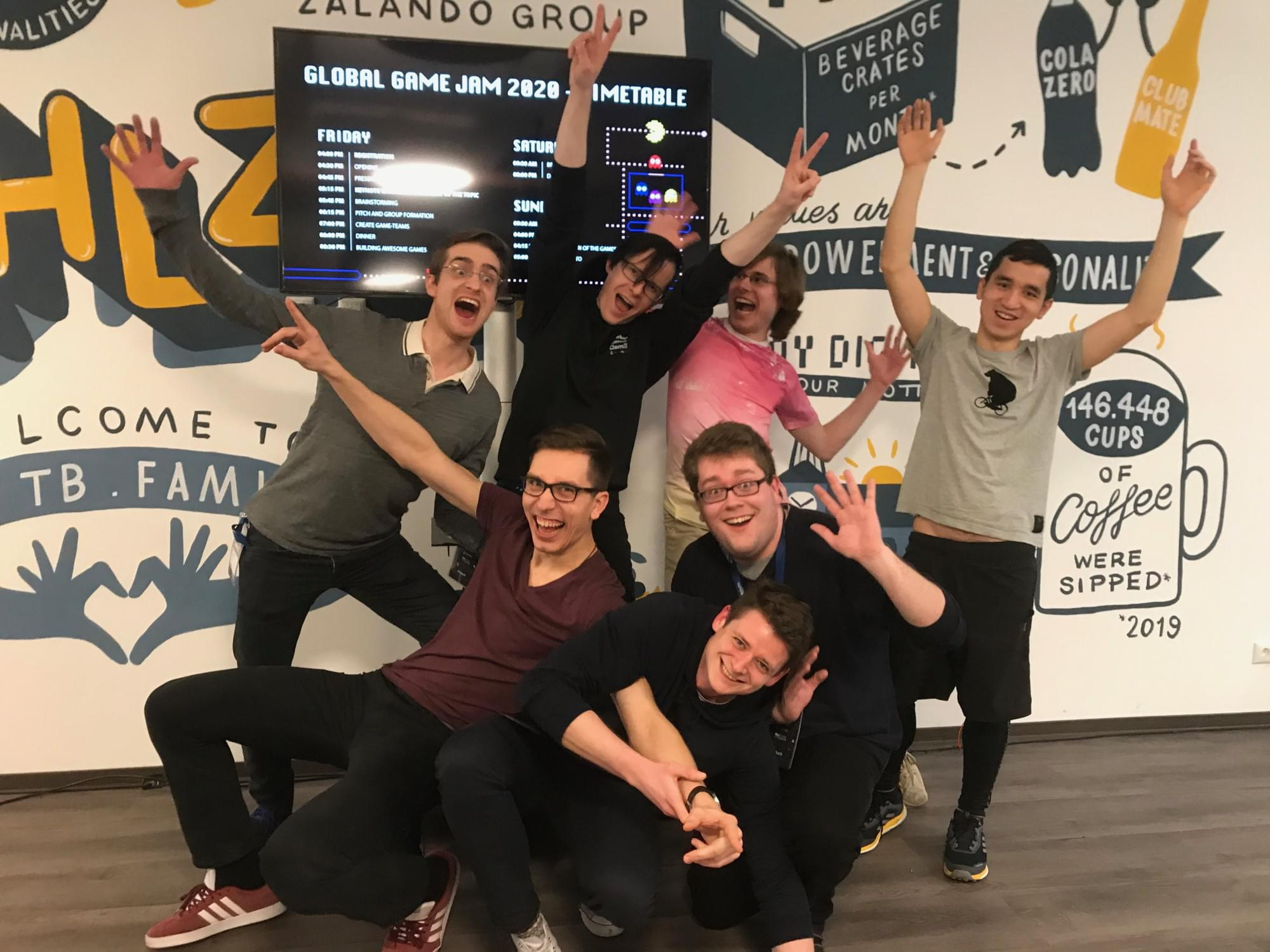 Gruppenfoto des Teams 'Quick and Dirty' beim Global Game Jam 2020 in Ansbach.