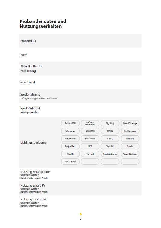 User Test - 4 Participant data