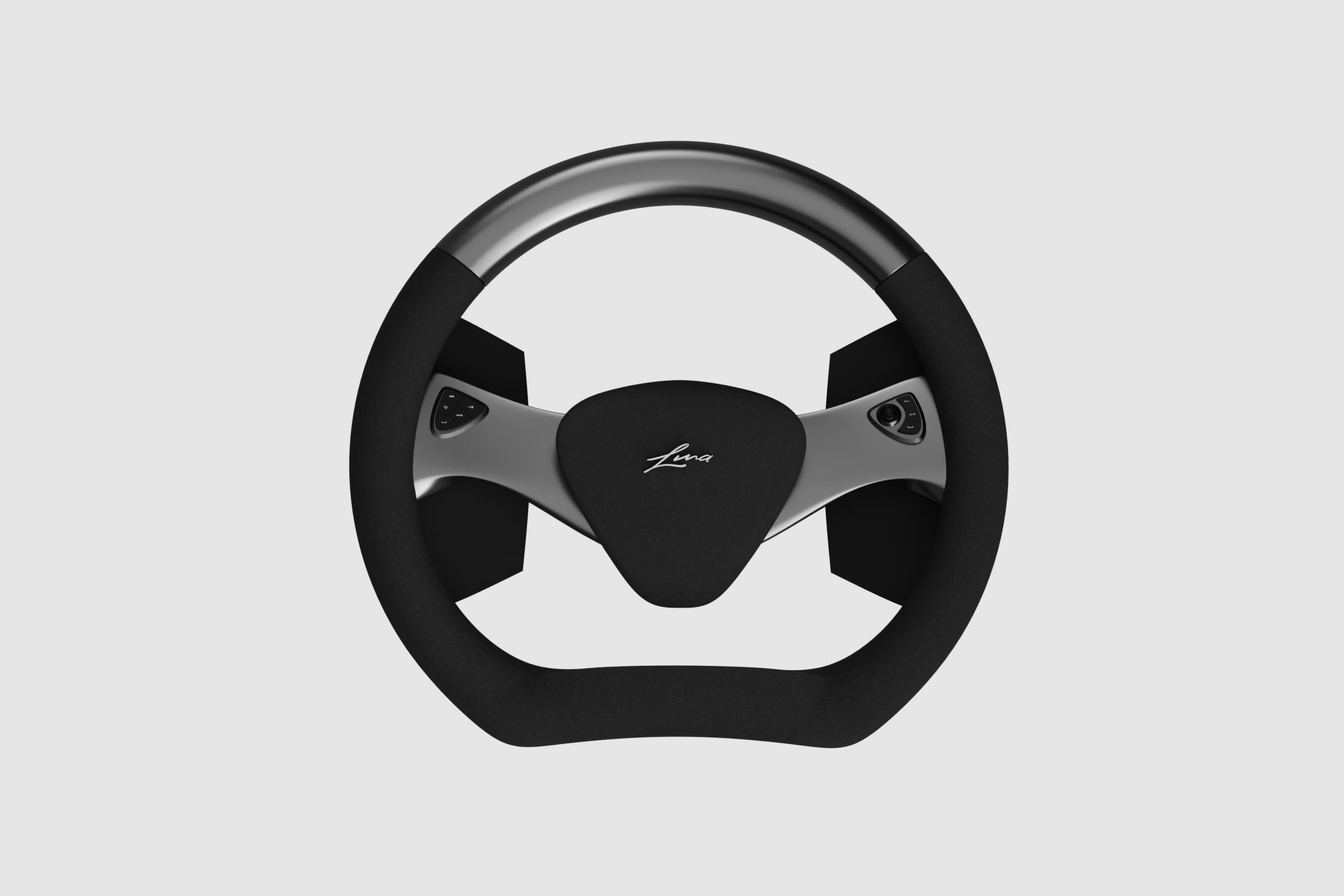 The steering wheel for autonomous driving was created as part of a competition. The competition was for a 3d construction and modelling software.